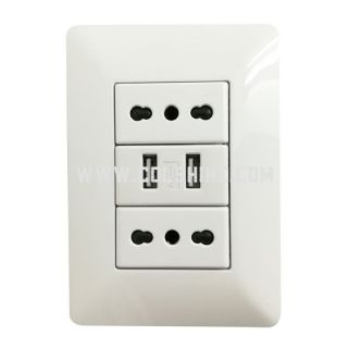 Italian wall socket with USB 2.1A  for Chile